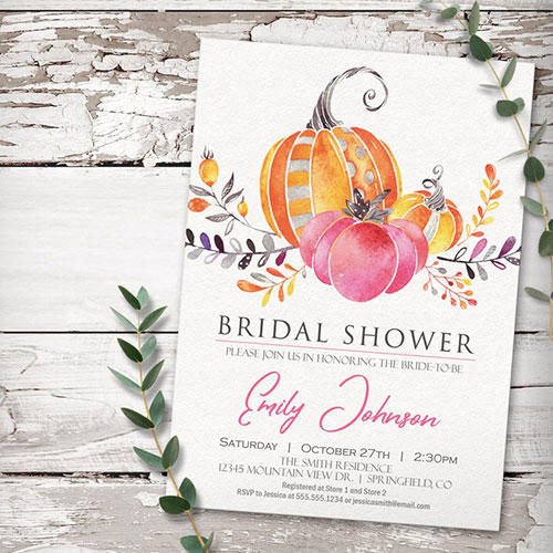 Your Seasons Pumpkin Bridal Shower Invites for Autumn