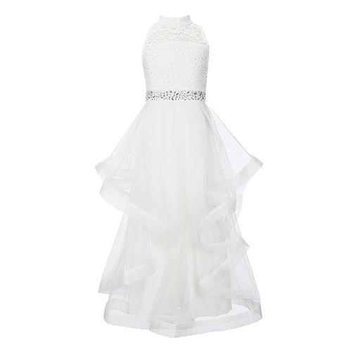 Xtraordinary Glitter Lace Horsehair Hem Long Dress