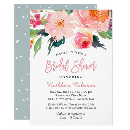 Card Hunter Whimsical Watercolor Floral Invites