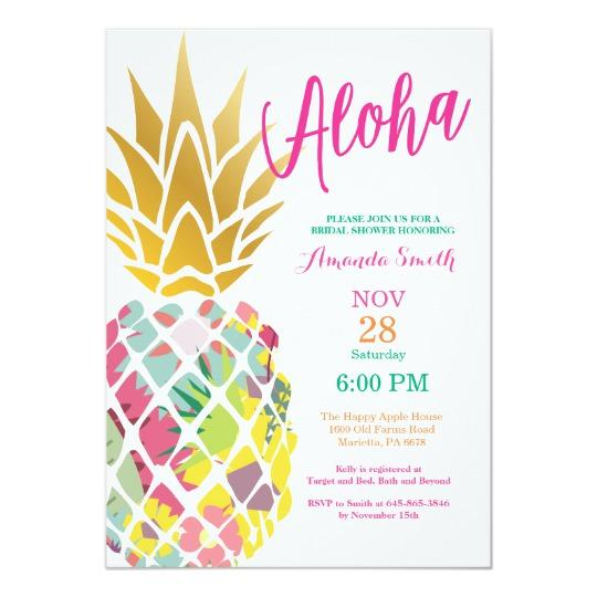 Paper Creative Design Tropical Pineapple Bridal Shower Invite