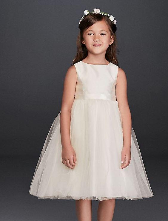 David's Bridal Ribbon Waist Dress