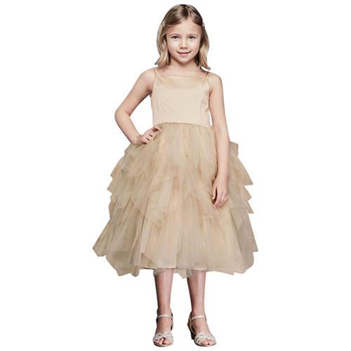 David's Bridal Tiered Tea-Length Tulle Dress