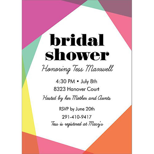 Colorblock Bridal Shower Invite