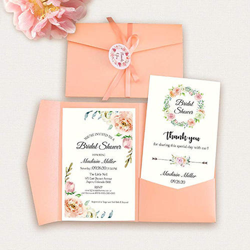 Doris Home Tri-fold Bridal Shower with Ribbon, Tags & Thank-you Notes
