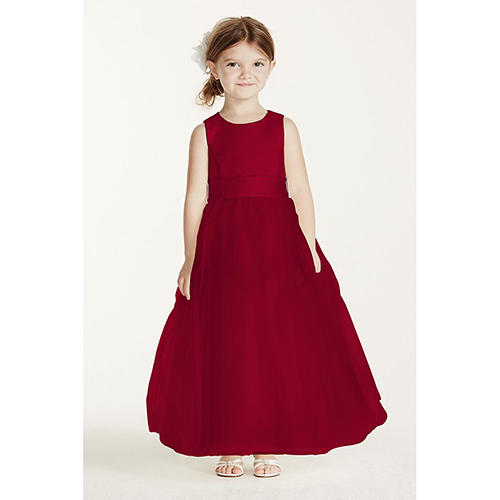 Satin Dress with Tulle Skirt