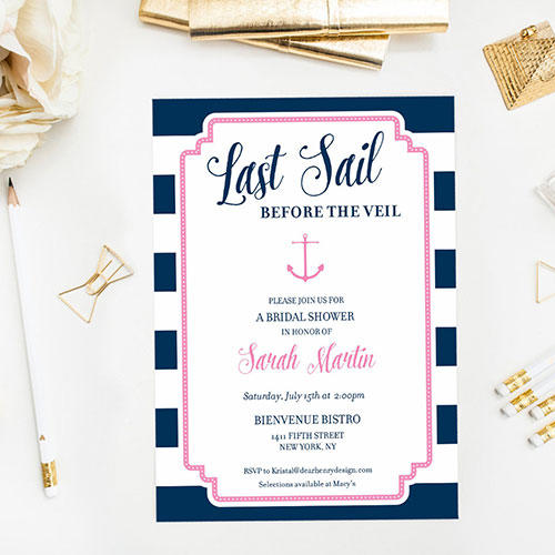 Dear Henry Design Last Sail Before the Veil Bridal Shower Invite
