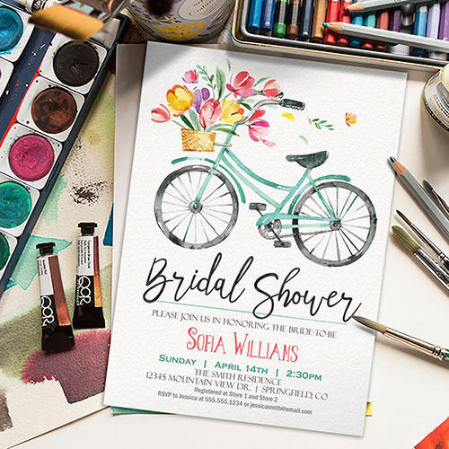 Your Seasons Floral Bicycle Bridal Shower Invites