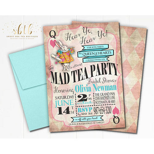 Sweet Bee Tea Boutique Alice in Wonderland Bridal Shower Invite