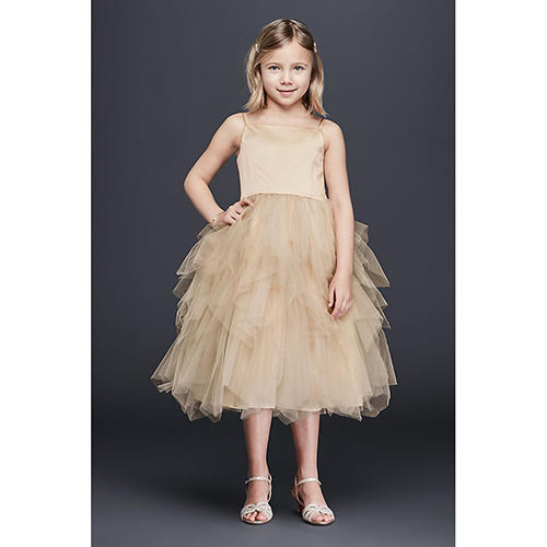 Tiered Tea Length Tulle Dress
