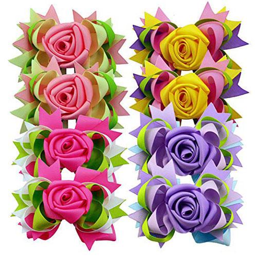 Rose Flower 5-inch Hair Bows for Girls