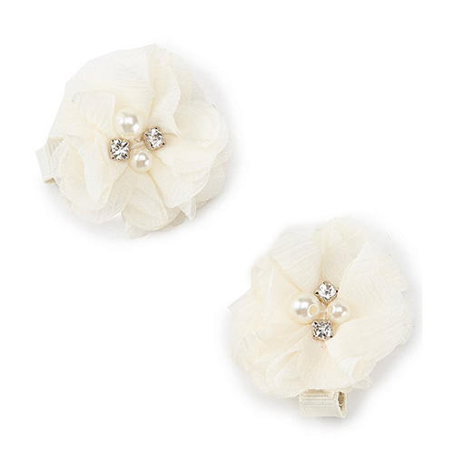 Edgehill Collection Little Girls 2-Pack Pearl Accented Flower Hair Clip