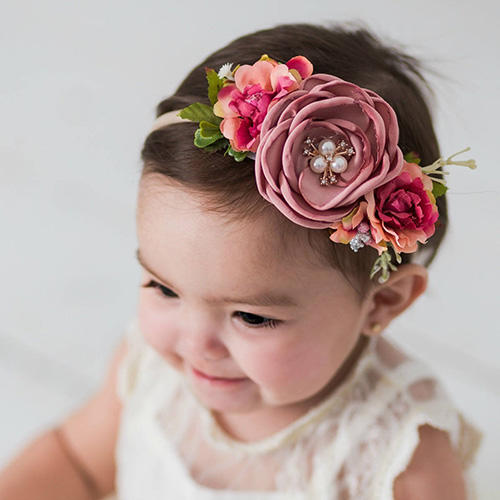 Think Pink Bows Flower Crown Headband