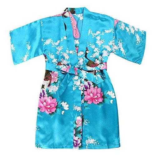 WONDERFIT Girls Satin Peacock Flower Kimono