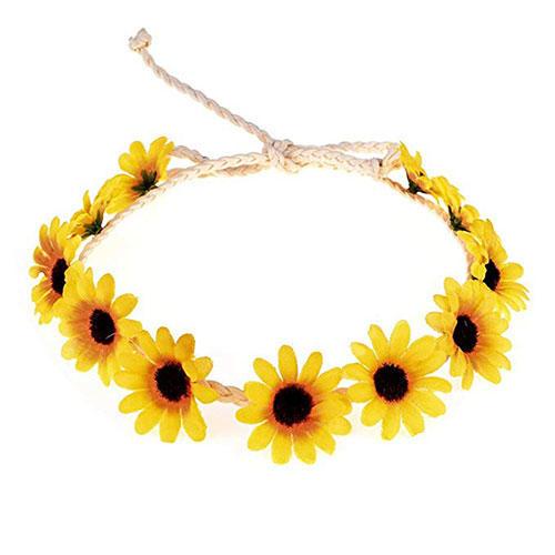 Floral Fall Sunflower Crown Hair Wreath