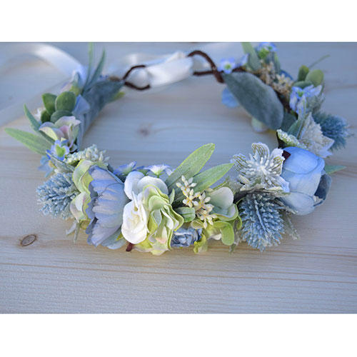 BohoHaloCompany Thistle and Hydrangea Crown