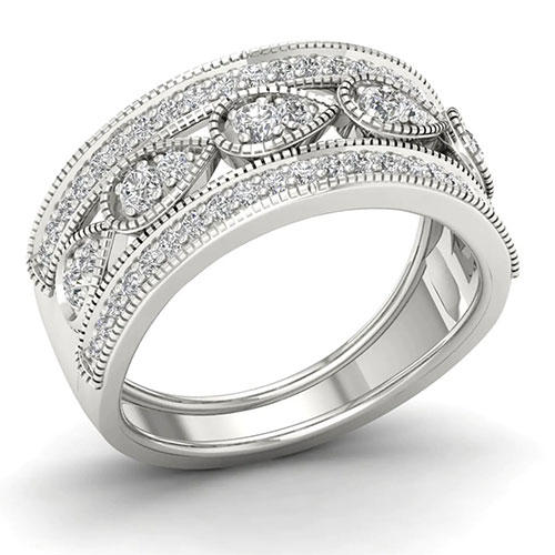 Amouria Sterling Silver Diamond Ring