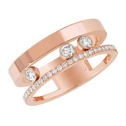 Messika Move Romane Diamond and 18K Rose Gold Ring
