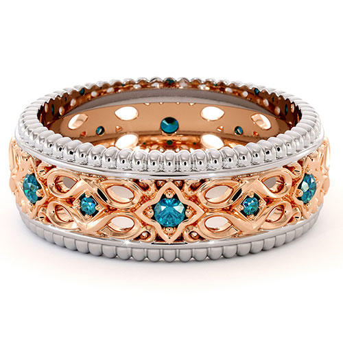 Ayala Diamonds Blue Diamond Rose Gold Wedding Band