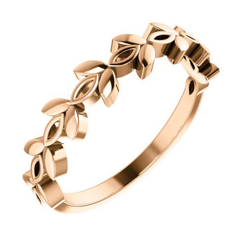 Pompeii3 14k Rose Gold Women's Marquise Design Wedding Band Stackable Ring