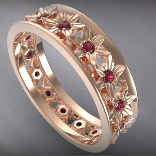 Vidar Jewelry Women's Ruby and Rose Gold Wedding Ring