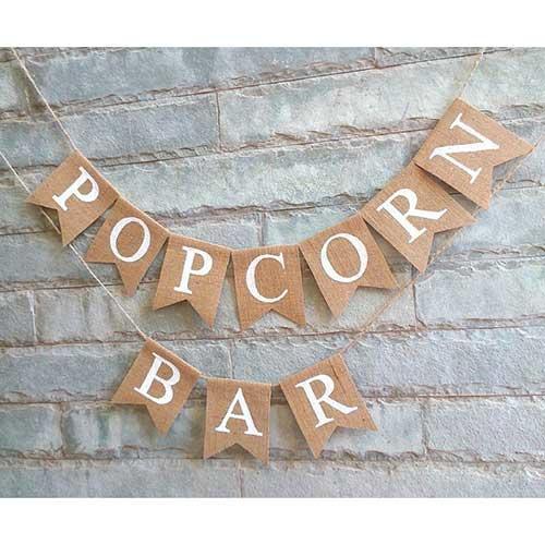 Popcorn Bar Burlap Banner
