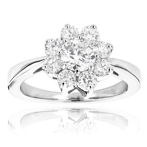 Luxurman Gold Unique Flower Diamond TDW Engagement Ring