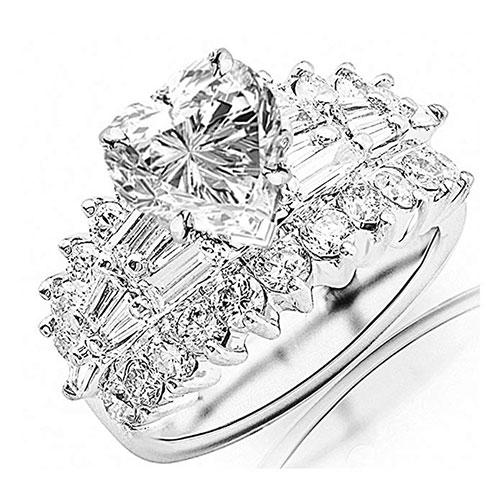 Houston Diamond District White Gold Exquisite Prong Set Baguette and Round Diamond Engagement Ring