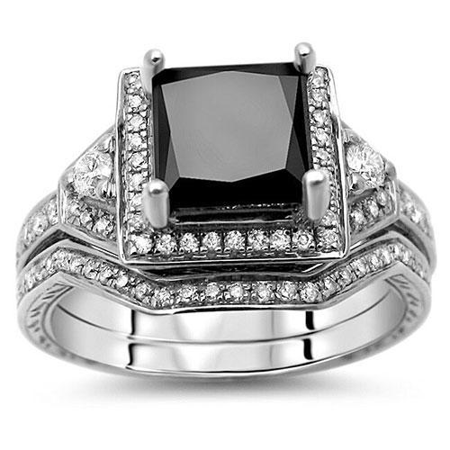 White Gold Princess-Cut Black Diamond Bridal Set