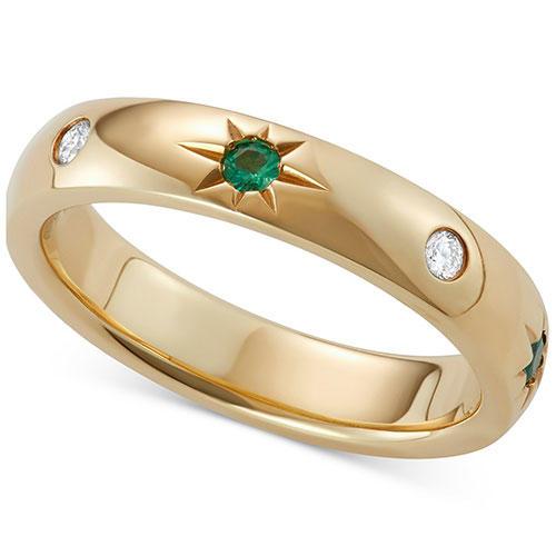 Marchesa Emerald & Diamond Wedding Band in Gold
