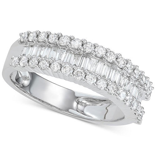 Macy's Diamond Baguette Cluster Band in White Gold or Yellow Gold