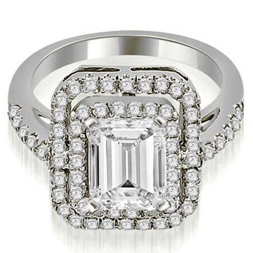 White Gold Double Halo Emerald Cut Diamond Engagement Ring