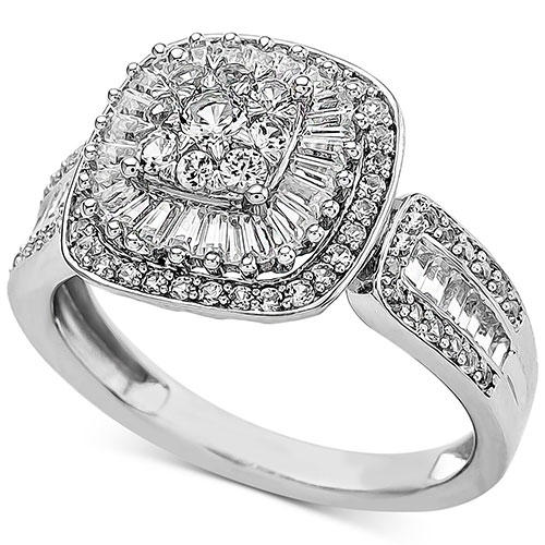 Macy's Diamond Baguette Cluster Engagement Ring in White Gold