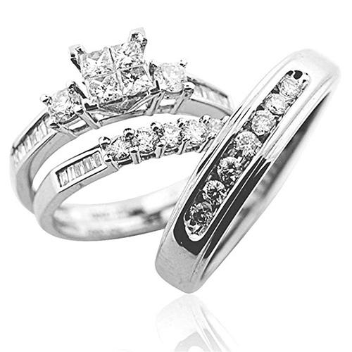 Midwest Jewellery Princess Cut Ring and Wedding Bands