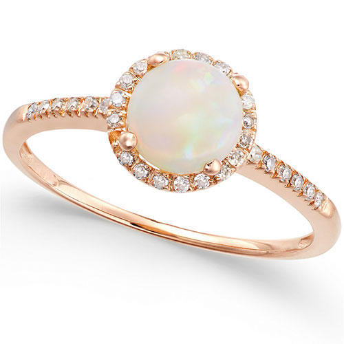 Macy's Opal and Diamond Ring