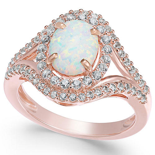 Macy's Lab Created Opal and Sapphire Sterling Silver Ring