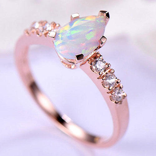 LStudioC Sterling Silver Pear Shape Opal Engagement Ring