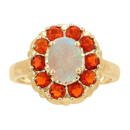 Anika and August Yellow Gold Australian and Fire Opal Ring