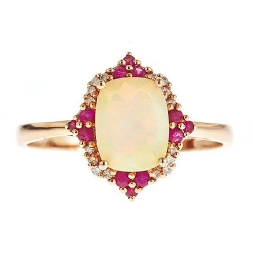 D'Yach Rose Gold Ethiopian Opal Accent Ring