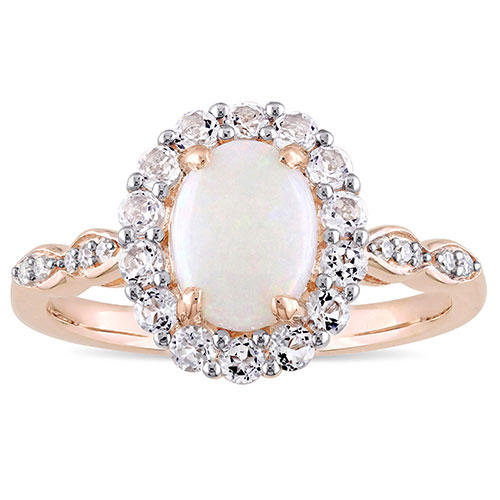 Miadora Rose Gold White Topaz and Diamond Halo