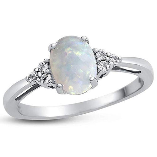 Fine Jewelers Opal and Topaz Ring