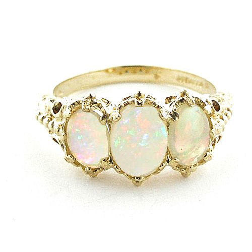 18k Yellow Genuine Opal Ring
