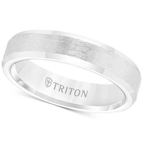 Triton Men's White Tungsten Carbide Wedding Band