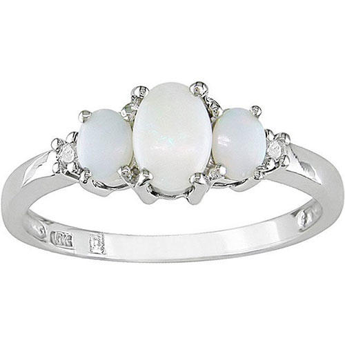Miadora 10k White Gold Opal Ring