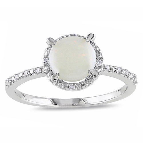 Miadora Sterling Silver Opal and Diamond Ring