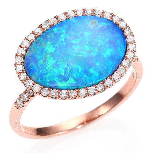 Meira T Opal, Diamond & 14K Rose Gold Ring