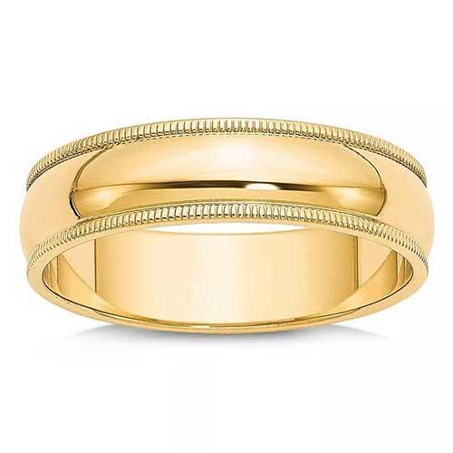 Bloomingdale's Men's 6mm Milgrain Half Round Wedding Band 14K Yellow Gold