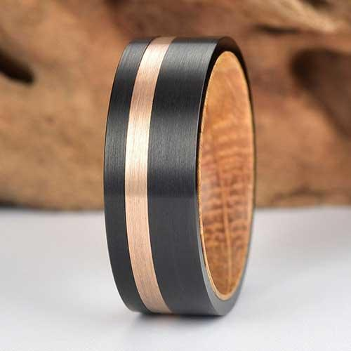 Rings By Pristine Tungsten Wedding Band Lined with Exotic Whiskey Barrel Wood