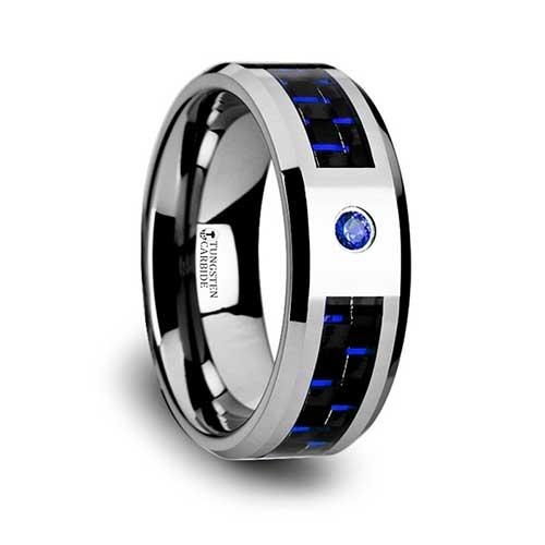 Neptune Tungsten Carbide Ring with Black and Blue Carbon Fiber
