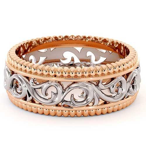 Ayala Diamonds Filigree Men's Wedding Band in Rose & White Gold