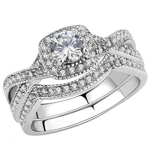 Flame Reflection Cubic Zirconia Infinity Band and Round-Set Solitaire